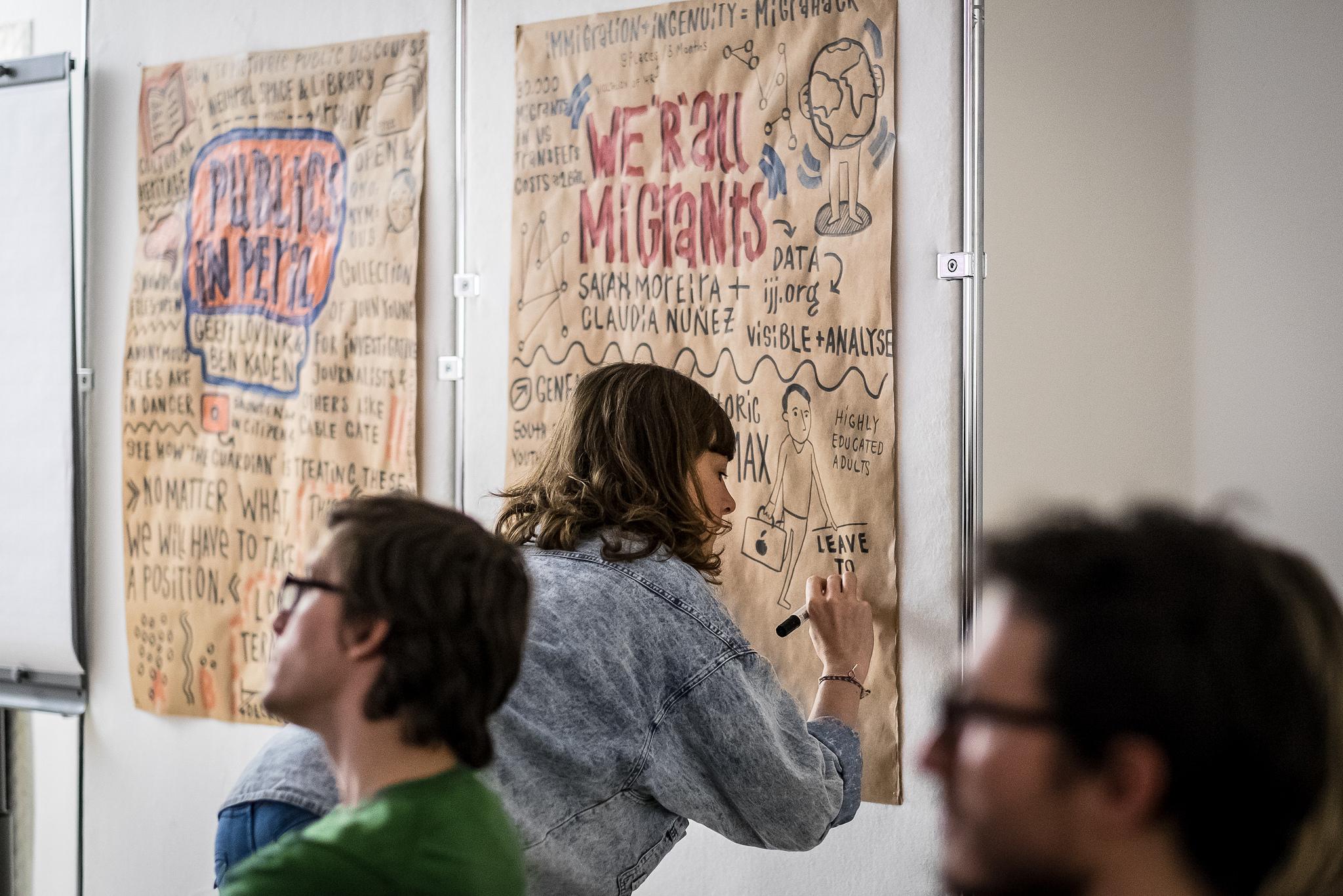 Eine Graphic Recorderin zeichnet Gedanken als Strichmännchen, Symbole und Schlagwörter auf ein Plakat.
