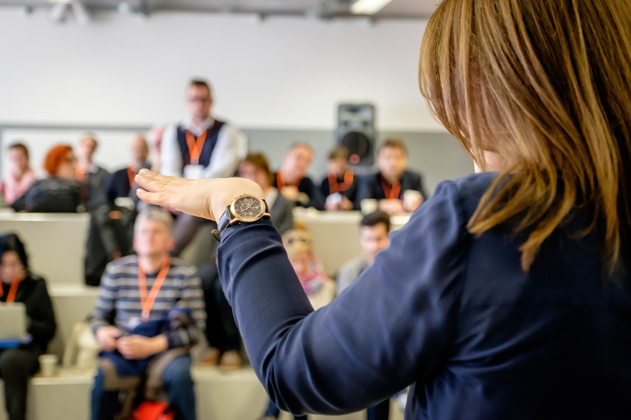 Eine Gebärdensprachdolmetscher gebärdet vor einem Publikum. Man sieht sie von hinten, nur ihre Handbewegung und Hinterkopf.
