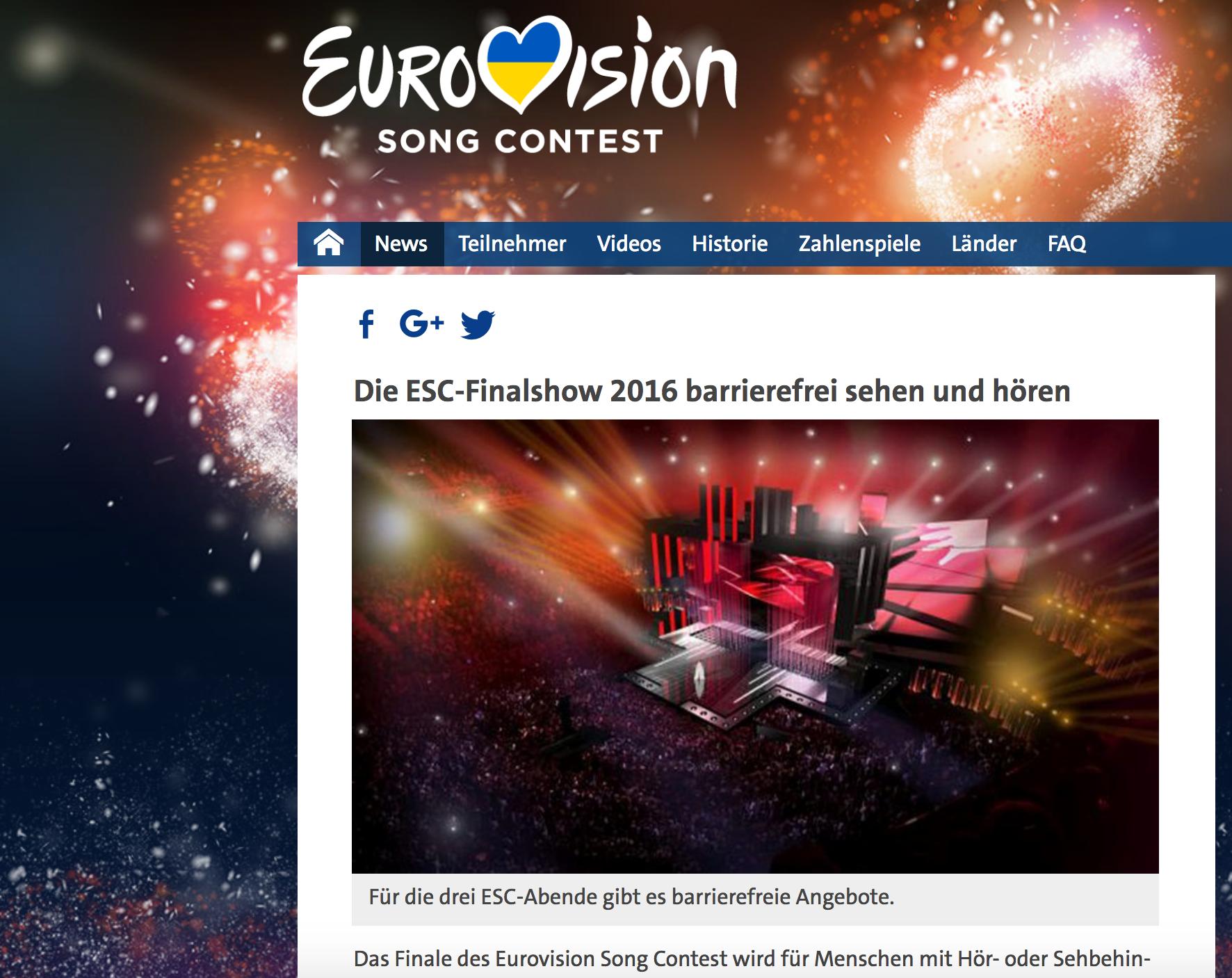 """Ein Screenshot von der Seite des Eurovision Song Contest. Die Überschrift """"Die ESC-Finalshow 2016 barrierefrei sehen und hören"""". Man sieht die Bühne mit vielen Zuschauerinnen und Zuschauern."""