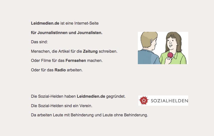 Das Bild zeigt eine Beschreibung der Webseite Leidmedien.de in Leichter Sprache. Die Sätze sind kurz, der Text ist blockartig. Zwischen den Zeilen gibt es einen großen Abstand. Neben dem Text ist ein gezeichnetes Bild. Es zeigt einen Mann der eine Frau interviewt.