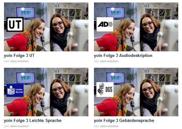 Screenshot der Seite von der Sendung Yoin bei Sport1. Man sieht eine Übersicht aller verfügbaren Videos, entweder mit Untertiteln, mit Audiodeskription, mit Gebärdensprache, mit Leichter Sprache oder mit keinem Zusatzservice.